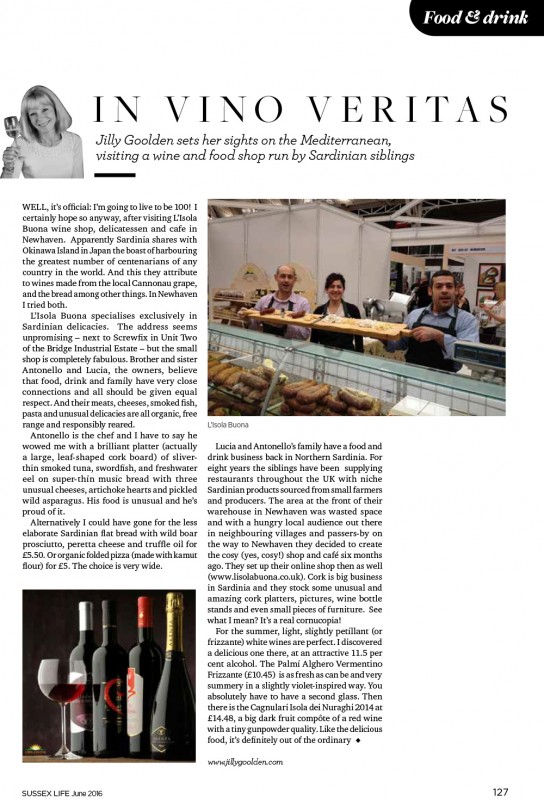 Jilly Goolden - seal of approval! ... In Sussex Life Magazine! - June 2016