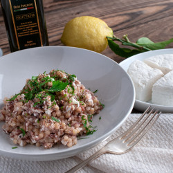 Fregula (fregola), red chicory and ricotta salata